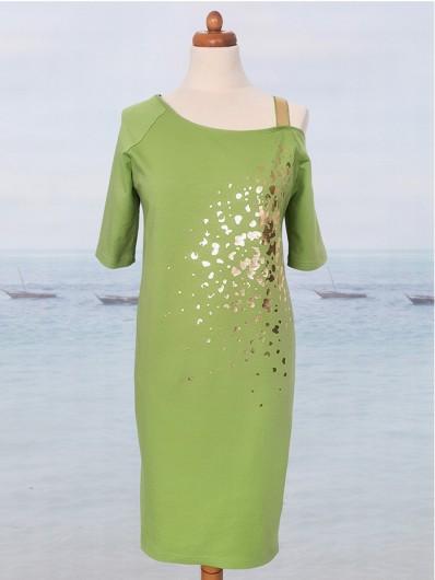 Modna pistacjowa sukienka do kolan z rękawem 3/4 i ze złotym nadrukiem Bee Collection Ronya