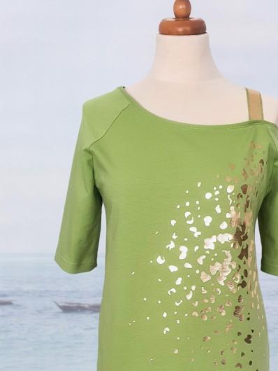 Sukienka zalotna asymetryczna na jedno ramię, zieleń pistacjowa midi Bee Collection Ronya