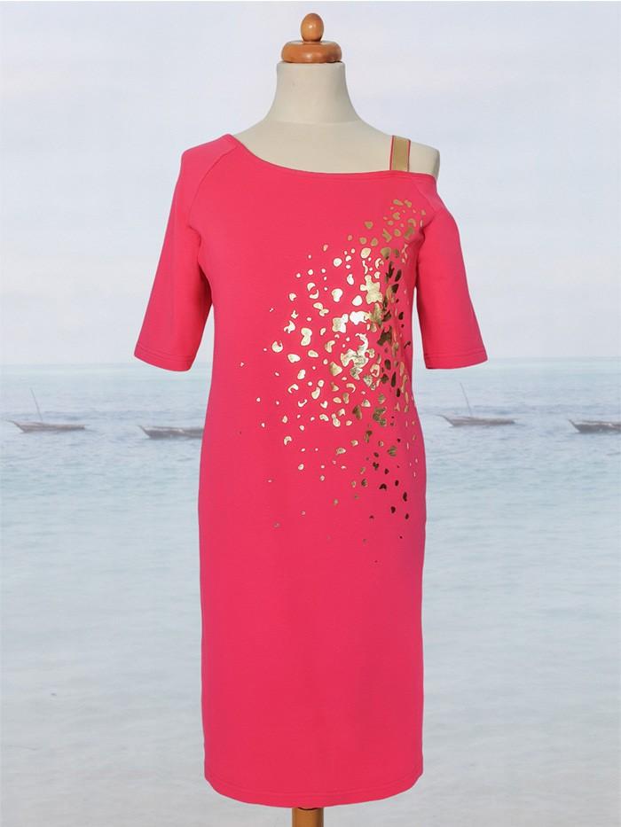 Prosta lekko taliowana sukienka asymetryczna amarantowa Bee Collection Ronya