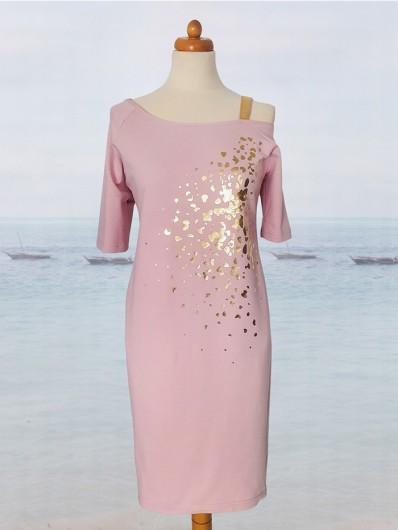 Różowa sukienka midi z dzianiny, na jedno ramię, sukienka codzienna, do pracy Bee Collection Ronya