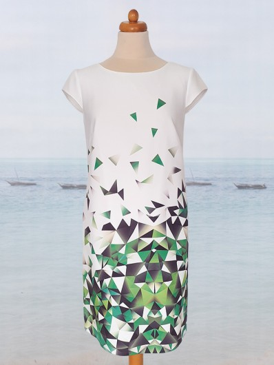 Niezobowiązująca sukienka koktajlowa, linia A trapezowa Bee Collection Ilona