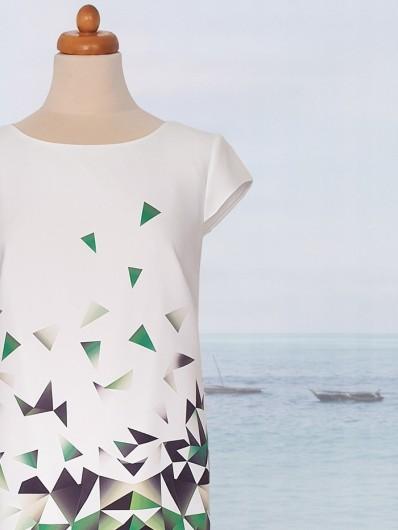 Oryginalny zielony geometryczny druk na sukience koktajlowej, na ślub, komunię, przyjęcia ogrodowe Bee Collection Ilona