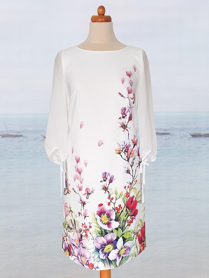 Elegancka, kobieca sukienka trapezowa z autorskim motywem japońskich kwiatów Bee Collection Japonia