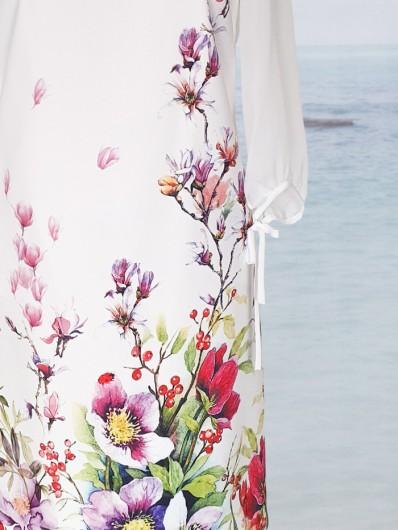Autorski motyw kwiatowy na białej sukience o linii A, z rękawem, sukienka wizytowa Bee Collection Japonia