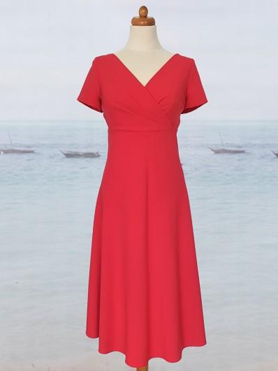 Rozkloszowana czerwona sukienka podkreślająca talię, z rękawem Bee Collection Vox