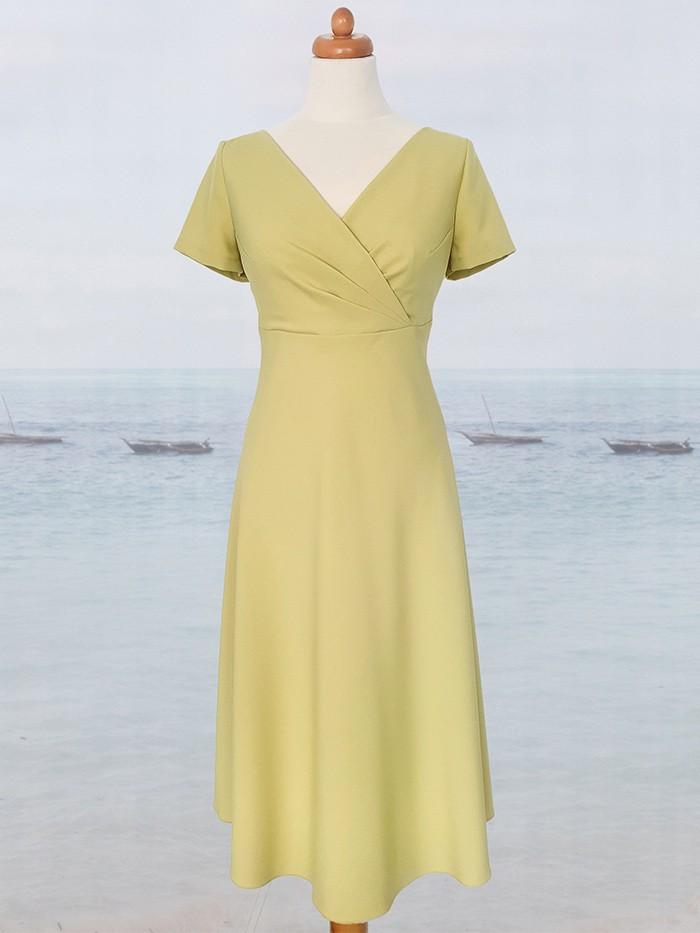 Sukienka midi za kolano, limonka rozkloszowana z rękawem na  wiele okazji Bee Collection Vox