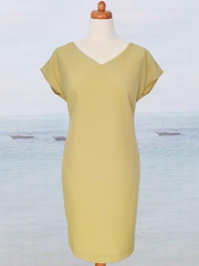 Tuszująca biust i brzuszek sukienka midi żółta limonka, odkryte plecy Bee Collection Katarzyna