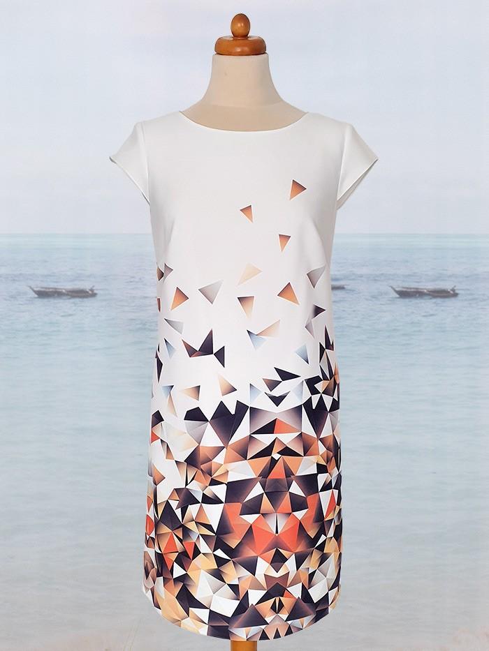 Pomarańczowe odcienie w sukience trapezowej do kolan z rękawkiem Bee Collection Ilona