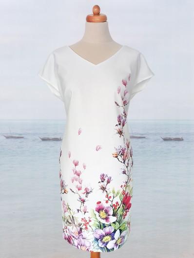sukienka codzienna i wizytowa w jednym, biała z autorskim nadrukiem w delikatne kwiaty Bee Collection Kacha