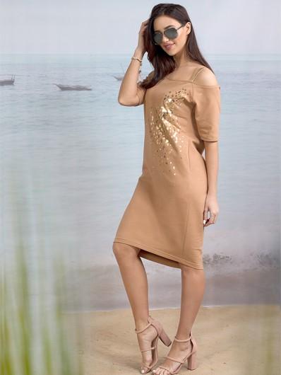 Sukienka w stylu casual w modnym karmelowym kolorze Bee Collection Ronya