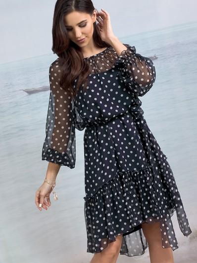 Tuszująca, szyfonowa sukienka w modne kropki, asymetryczna, nowoczesna Bee Collection Zephir