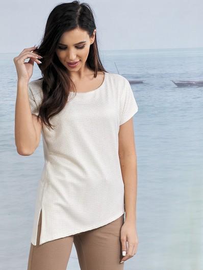 Elegancka i wygodna biała bluzka z modną złotą siatką na przodzie Bee Collection Fargo