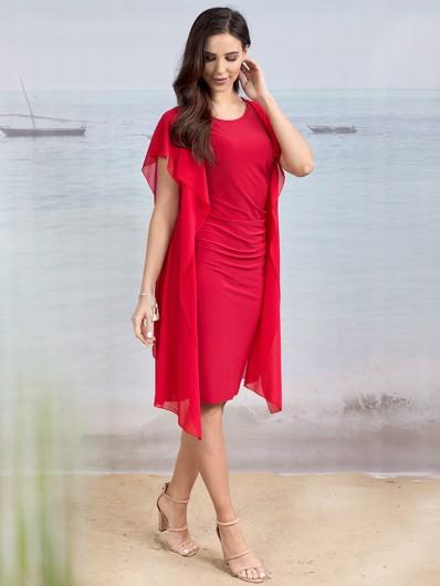Sukienka weselna, w pomarańczowej czerwieni, za kolano z rękawkiem Bee Collection Gaul