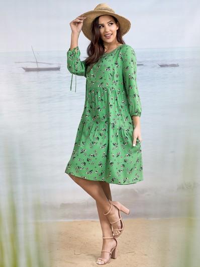 Sukienka w łączkę, w zielonym kolorze z falbanami, z rękawem 3/4 Bee Collection Weronika