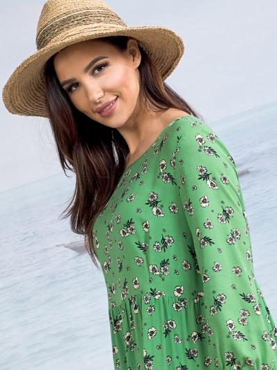 Nowoczesny, modny styl boho sukienka luźna tuszująca zielona Bee Collection Weronika