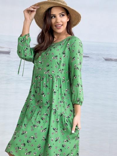 Sukienka w stylu boho w kwiatową łączkę, drobne, zielony, modny kolor Bee Collection Weronika