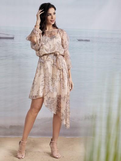 Sukienka na luzie i do związania w pasie, asymetryczna z rękawem, kobieca, na wiele okazji Bee Collection Czad