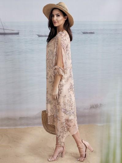 Sukienka wakacyjna, na luzie, tuszująca, morelowa w kwiaty, modna asymetria Bee Collection Czad