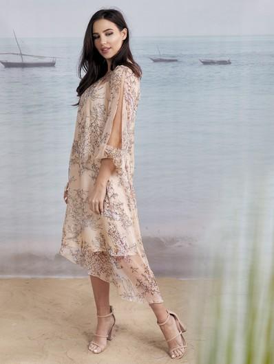 Romantyczna, modna sukienka na lato, zwiewna, modelowa w kwiaty Bee Collection Czad