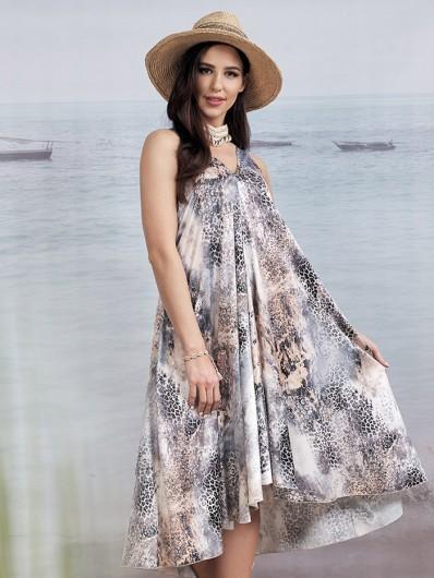 Sukienka na lato, zwiewna, długa, midi na ramiączka w zwierzęcy wzór, z modnej satyny elegancka Bee Collection Malta