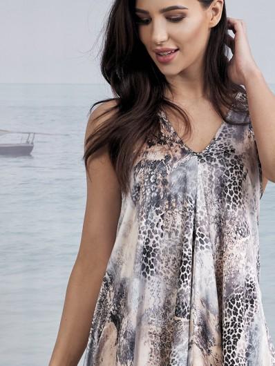 Nowoczesna, modna sukienka na ramiączka z odkrytymi plecami w szpic Bee Collection Malta