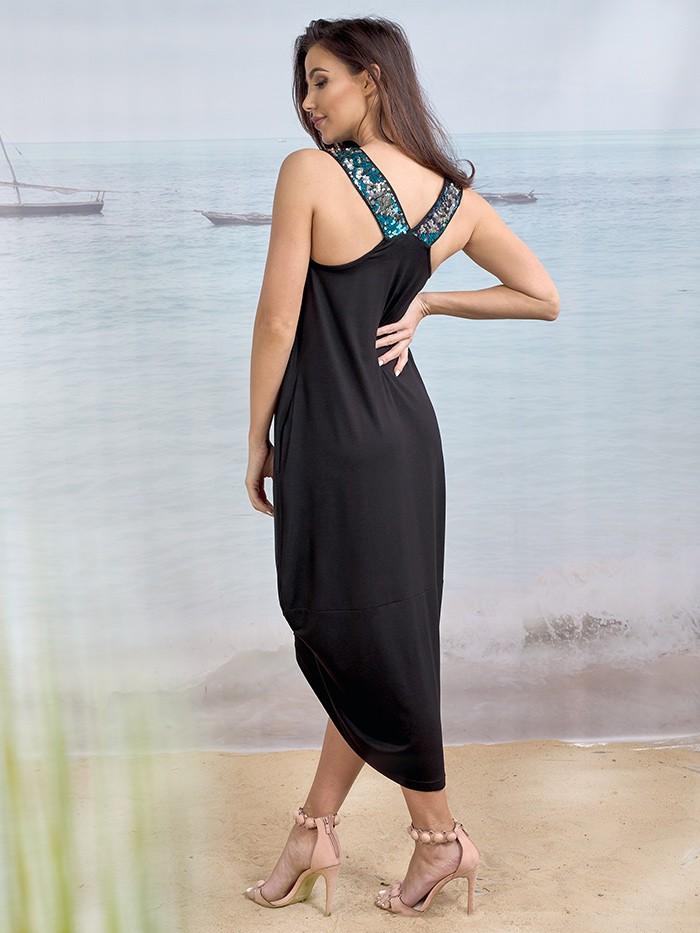 Niewymuszona elegancja i komfortowa sukienka z dzianiny czarna z cekinami Bee Collection Benin