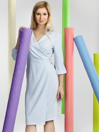 Sukienka kopertowa z rękawem błękitna  Bee Collection Pinia