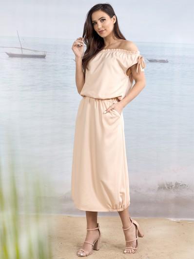 Letnia sukienka z wiskozy, midi, na wakacje, w stylu hiszpanka, z kieszeniami Bee Collection  Etna