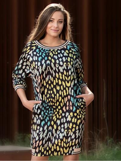 Luźna, modna sukienka ze ściągaczami, midi, w zwierzęcy, kolorowy wzór, codzienna Bee Collection Mirka