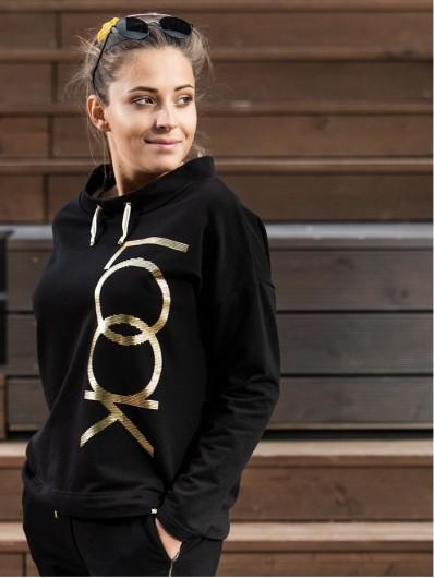 Bluza czarna luźna, ze złotym drukiem, na stójce Bee Collection Look