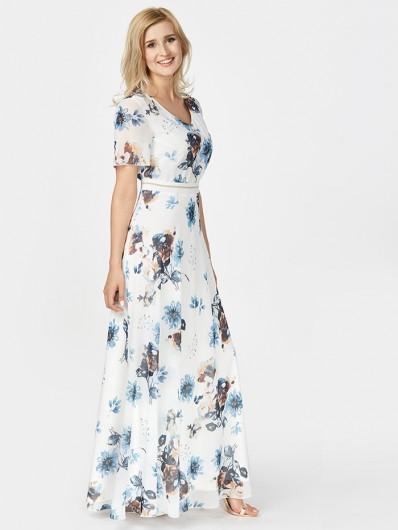 Sukienka maxi w delikatne kwiaty z rękawem Bee Collection