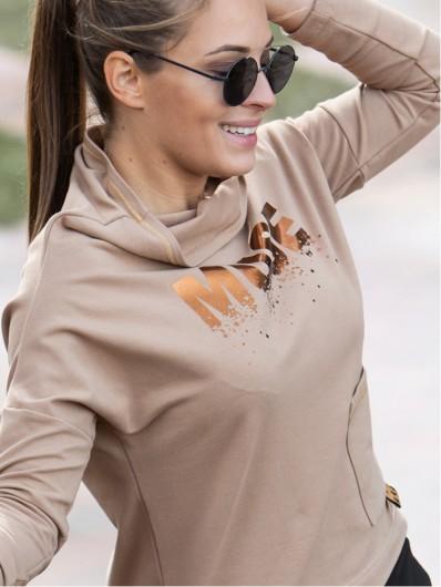 Bluza karmelowa na stójce i z nadrukiem, całoroczna, z długim rękawem lekko dopasowana Bee Collection Muse