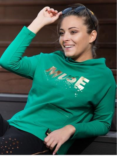 Sportowa, zielona bluza w eleganckim wydaniu ze złotym nadrukiem z bawełny Bee Collection Muse