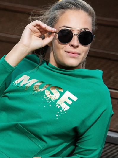 Bluza zielona z wygodnej bawełnianej dzianiny dresowej, do biura, czy pracy zdalnej w domu Bee Collection Muse
