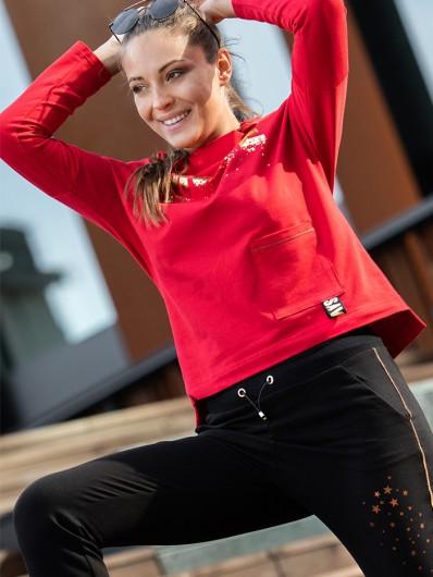 Eleganckie spodnie w stylu sportowym z nowoczesnymi ozdobnymi dodatkami, z bawełnianej dzianiny, Bee Collection Best