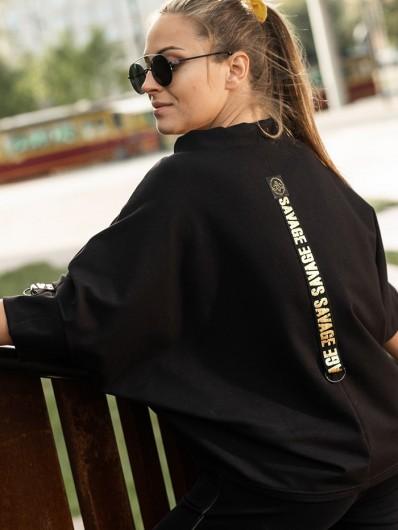 Bluza w stylu sportowej elegancji z tyłu ozdobna taśma z przodu nadruk zwierzęcy Bee Collection Niren