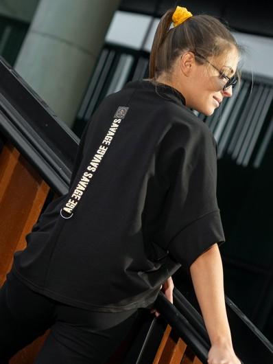 Bluza tuszująca, luźna czarna z dzianiny dresowej bee Collection Niren