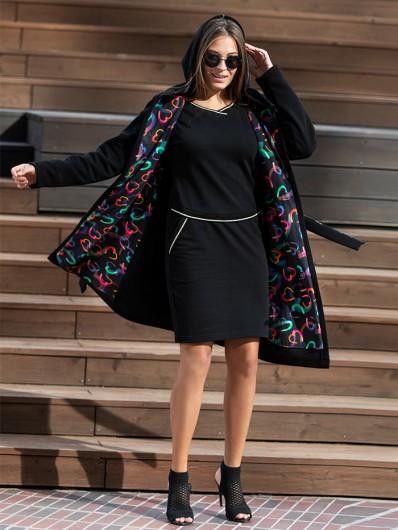 nowoczesny, modny fason luźnego płaszcz wiązanego w pasie z kapturem, na jesień i wiosnę Bee Collection Como