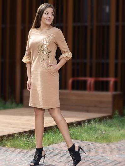 Sukienka midi z ozdobnymi rękawami 3/4 i okrągłym dekoltem, casualowa i elegancka jednocześnie Bee Collection Ebbia