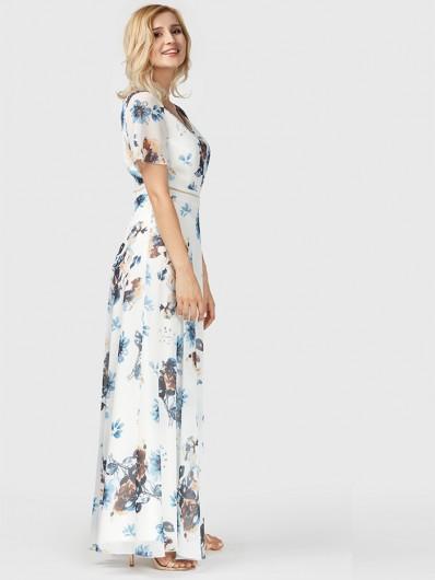 Długa sukienka rozkloszowana. wizytowa kwiaty Bee Collection