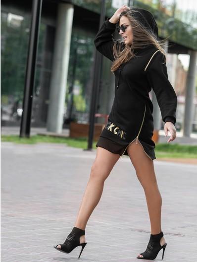 Sukienka czarna casualowa w eleganckim wydaniu z kapturem i suwakami Bee Collection Transit