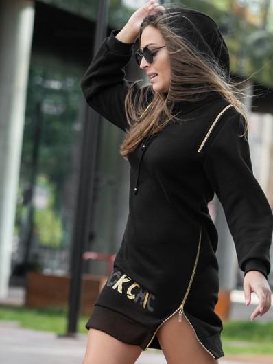 Nowoczesna, czarna, modna sukienka z kapturem i ściągaczami z bawełny Bee Collection Transit