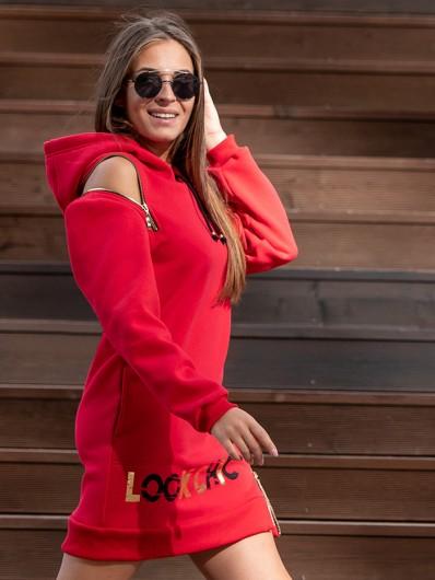 Modna czerwona sukienka, sporty chic i wygoda ze złotym nadrukiem i suwakami Bee Collection Transit