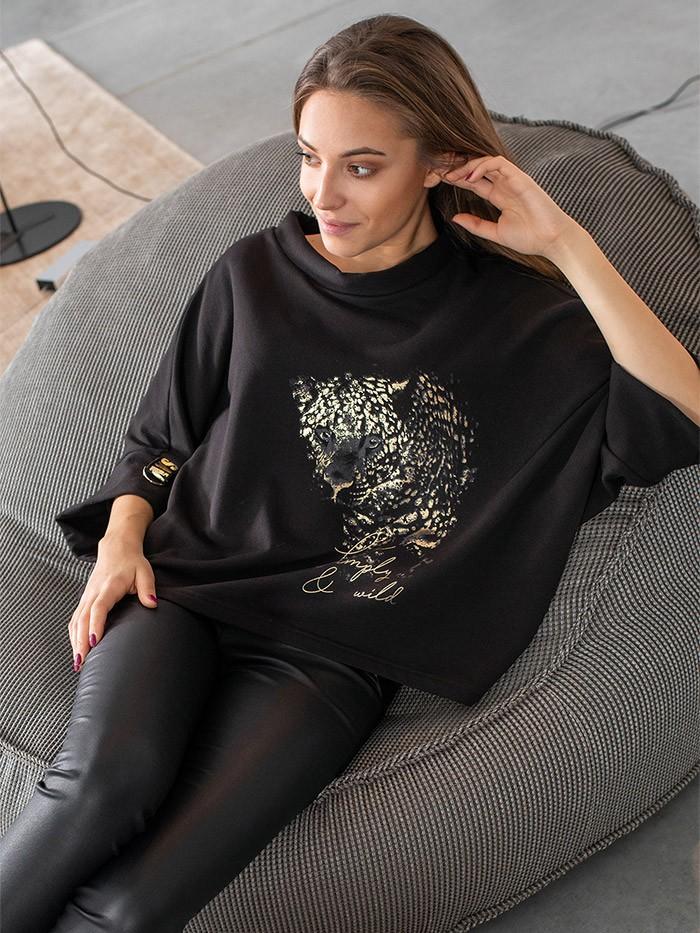 Czarna casualowa bluza w nowoczesnym designie, ze zwierzęcym drukiem Bee Collection Niren