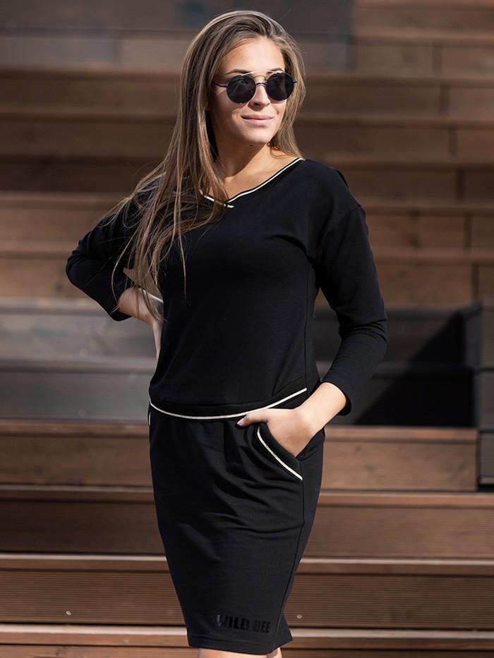 Klasyczna czarna sukienka z dzianiny bawełnianej ze ściągaczami , midi Bee Collection Luda