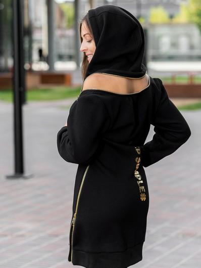 Kobieca, modna czarna sukienka z kapturem i ozdobnymi złotymi suwakami Bee Collection Transit