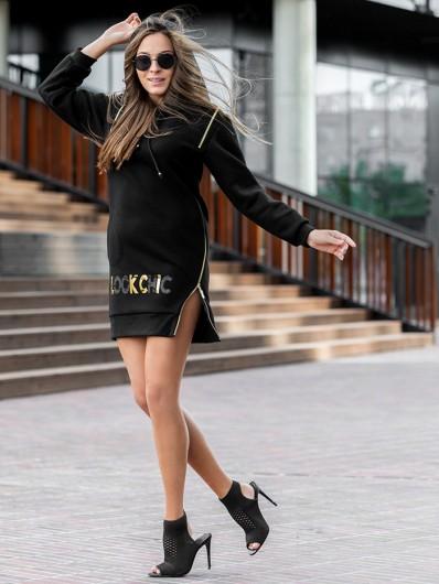 Nowoczesna czarna sukienka z dzianiny z kapturem i ściągaczami Bee Collection Transit