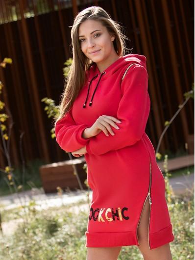 Wygodna, nowoczesna czerwona sukienka z dzianiny z długim rękawem Bee Collection  Transit