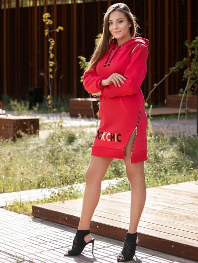 Czerwona sukienka przed kolana z dzianiny, z kapturem Bee Collection Transit