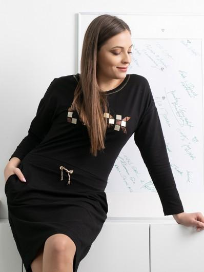 Czarna sukienka w stylu sportowej elegancji, bardzo wygodna, suknia z dzianiny Bee Collection Albina